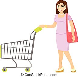 Vector woman with trolley