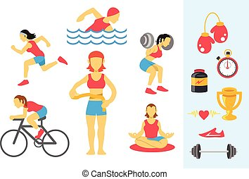 Vector womans sport and fitness infographics.