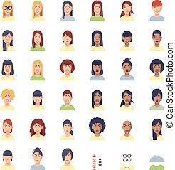 Vector women faces icon set