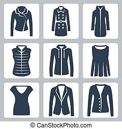 Vector women's clothes icons set: jacket, overcoat,...