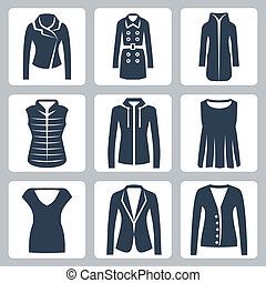 Vector women's clothes icons set: jacket, overcoat, down-...
