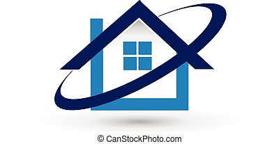 vector, woning, landgoed, logo, echte