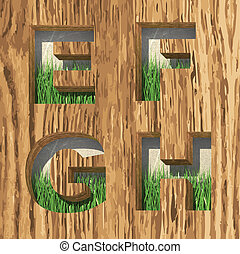 vector wood and grass alphabet letters set