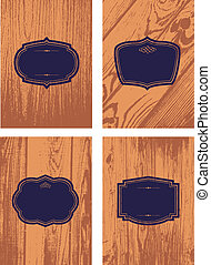 Vector Wood Background and Frame Set