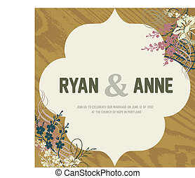 Vector Wood Background and Ornate Frame