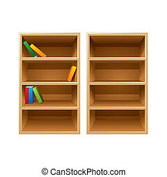 Two vector wood bookshelves, one with the books and another one is empty