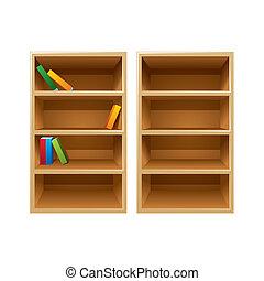 Vector wood bookshelves - Two vector wood bookshelves, one...