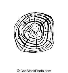 Vector wood surface - Tree trunk ring cross section. Black...