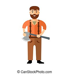 Vector Woodcutter. Flat style colorful Cartoon illustration...