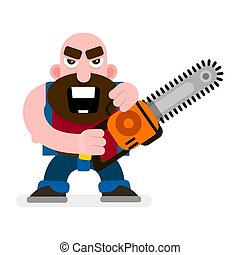 Vector Woodcutter With Chainsaw. Cartoon Illustration Isolated