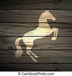 Vector Wooden Background - Vector Illustration of a Horse on...