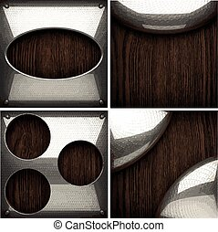 vector wooden background with metal element