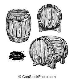 Vector wooden barrel. Hand drawn vintage illustration in ...