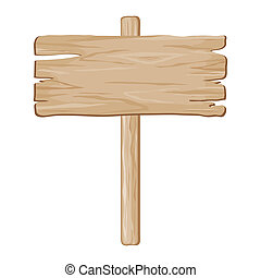 vector wooden board sign on a white background