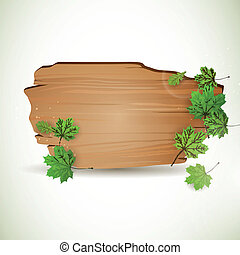 Vector Wooden Board with Leaves - Vector Illustration of a...