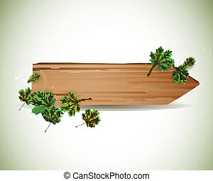 Vector Wooden Board with Leaves