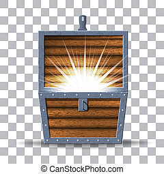 Vector Wooden Chest with glowing isolated on transparent background
