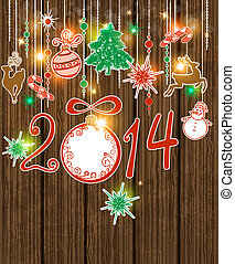 Vector wooden Christmas background