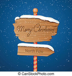Vector Wooden Christmas Sign - Vector Illustration of a...