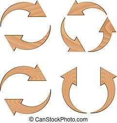 vector wooden circular arrows