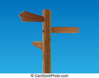 wooden crossroad sign