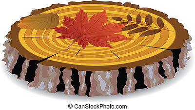 wooden cut and autumn leaves