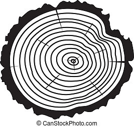 vector wooden cut of a tree log - vector black and white...