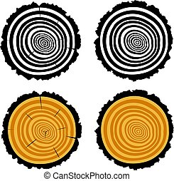 vector wooden cut of a tree log with concentric rings