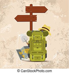 Vector wooden directional signpost or arrow with backpacks. Camping concept vector design.