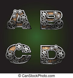 vector wooden figure with gears alphabet set