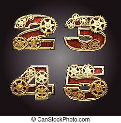 vector wooden figure with gears alphabet set