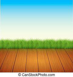 Vector wooden floor with grass, sky