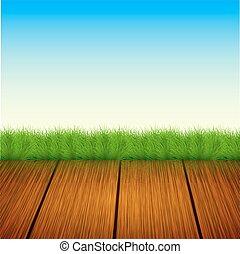 Vector wooden floor with grass, sky. Summer background