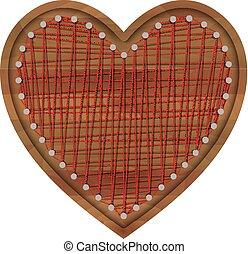 Vector wooden frame in shape of heart with woven thread heart inside. Design element for Valentine, wedding invitations. Isolated on white background.