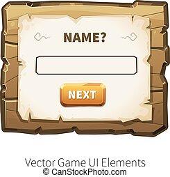 Vector wooden game ui