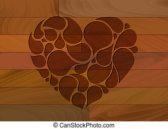 Vector wooden heart background - Vector wooden lovely heart ...