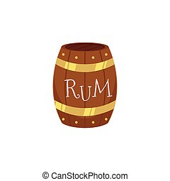 vector wooden rum barrel isolated illustration on a white...
