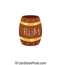vector wooden rum barrel isolated illustration