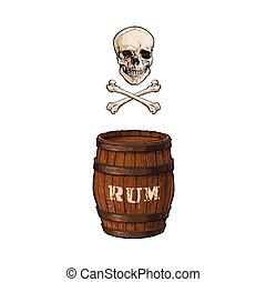 vector wooden rum barrel, skull cross bones set - vector...