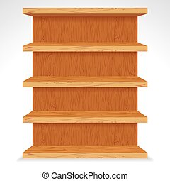 Vector Wooden Shelves. Ready for Your Design.