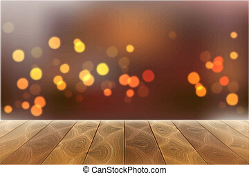 Vector wooden table on blurred bokeh lights
