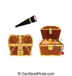 vector wooden treasure chest and spyglass