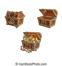 vector wooden treasure chest set isolated