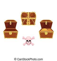 vector wooden treasure chest, skull cross bones