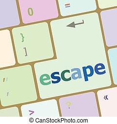 vector, woord, ontsnapping, illustratie, computer sleutel, toetsenbord
