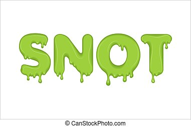 Vector word made of flowing snot. Letters with snivel drops, splashes and blobs. Glossy typeface. Text of mucus, green liquid drops isolated on white background.