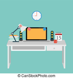Vector of Office set for work .computer, book, coffee, desk, clock