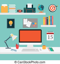 Vector of Office set for work .computer, smart phone, coffee, desk, tablet, picture, note