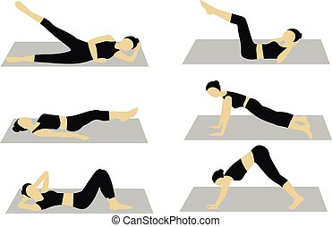 vector, workout, vrouw, set
