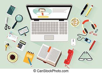 Vector workplace flat illustration